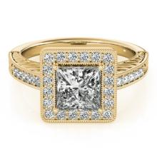 1.05 CTW Certified Princess Diamond Bridal Solitaire Halo Ring 18K Yellow Gold - 27119-REF#188Y6X
