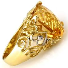 Genuine 10.03 ctw Citrine & Diamond Ring 10K Yellow Gold - 11017-#34N3F