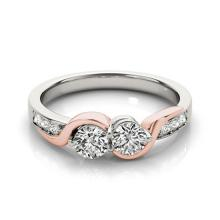 1.25 CTW Certified Diamond Bridal 2 Stone Ring 18K White & Rose Gold - 28213-REF#174W2H