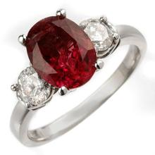 Natural 3.25 ctw Rubellite & Diamond Ring 18K White Gold - 10008-#90N2F