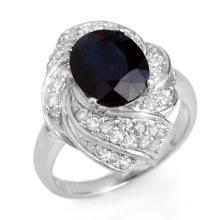 Genuine 3.85 ctw Blue Sapphire & Diamond Ring 18K White Gold - 13087-#84P3X