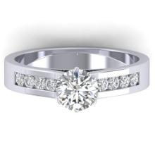 1.10 CTW Certified Diamond Solitaire Engagement Art Deco Ring 18K White Gold - 32603-REF#166K4R