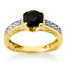 Natural 1.85 ctw Black & White Diamond Bridal Ring 14K Yellow Gold - 11804-#73W9K
