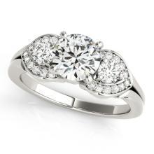 1.20 CTW Certified Diamond 3 Stone Bridal Ring 18K White Gold - 27981-REF#177N2F