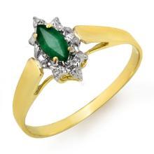 Genuine 0.25 ctw Emerald Ring 10K Yellow Gold - 12905-#9R2H