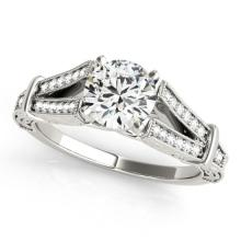 0.75 CTW Certified Diamond Solitaire Bridal Antique Ring 18K White Gold - 27288-REF#112K8R