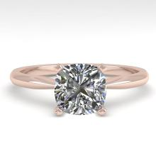 1.01 CTW Cushion Cut Certified Diamond Solitaire Engagement Ring 14K White Gold - 32427-REF#253F5N