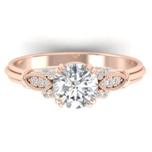 1.15 CTW Certified Diamond Solitaire Engagement Art Deco Ring 18K Rose Gold - 32808-REF#242H3W