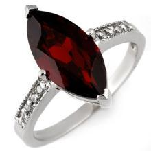 Genuine 3.10 ctw Garnet & Diamond Ring 10K White Gold - 11045-#18F7M