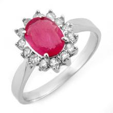 Natural 1.27 ctw Ruby & Diamond Ring 18K White Gold - 10096-#37N2F