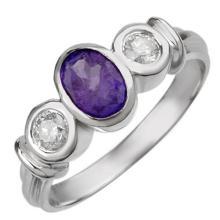 Natural 1.05 ctw Tanzanite & Diamond Ring 18K White Gold - 11052-#51M8G