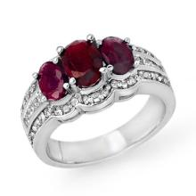 Genuine 3.50 ctw Ruby & Diamond Ring 18K White Gold - 14395-#121F2M