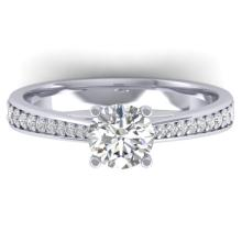 1.01 CTW Certified Diamond Solitaire Engagement Art Deco Ring 18K White Gold - 32639-REF#152V3A