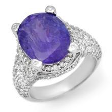 Natural 9.50 ctw Tanzanite & Diamond Ring 14K White Gold - 11264-#340H2W