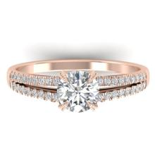 1.11 CTW Certified Diamond Solitaire Engagement Art Deco Ring 14K Rose Gold - 30304-REF#146F8N