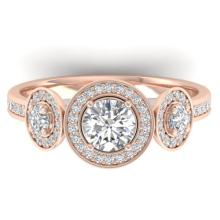 1.25 CTW Certified Diamond Art Deco 3 Stone Micro Halo Ring 14K Rose Gold - 30361-REF#125Z2T