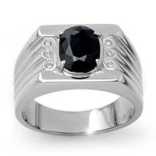 Genuine 3.76 ctw Blue Sapphire & Diamond Men's Ring 10K White Gold - 13515-#47M2G
