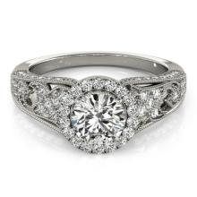 1.25 CTW Certified Diamond Bridal Solitaire Halo Ring 18K White Gold - 26572-REF#190Z9T