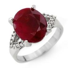 Genuine 6.50 ctw Ruby & Diamond Ring 14K White Gold - 12759-#48G8R