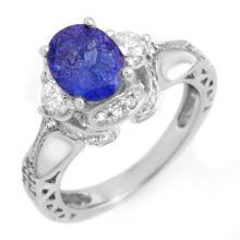 Genuine 2.82 ctw Tanzanite & Diamond Ring 14K White Gold - 11180-#105H8W