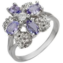 Genuine 0.83 ctw Tanzanite & Diamond Ring 14K White Gold - 10825-#40Y5V