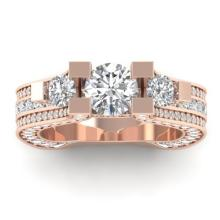 5.50 CTW Certified Diamond Art Deco 3 Stone Micro Wedding Ring 14K Rose Gold - 30295-REF#512X5Y