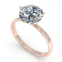 2.01 CTW Certified Diamond Solitaire Engagement Ring Martini 14K Rose Gold - 30582-REF#774X4Y