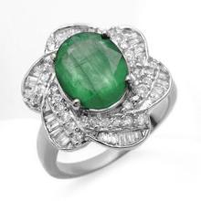 Natural 5.15 ctw Emerald & Diamond Ring 18K White Gold - 12878-#136G8R