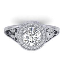 2.20 CTW Certified Diamond Solitaire Art Deco Micro Halo Ring 18K White Gold - 32783-REF#482W9H