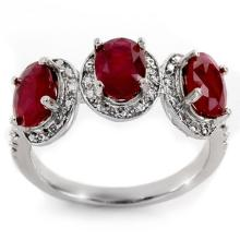 Natural 3.08 ctw Ruby & Diamond Ring 10K White Gold - 11350-#24V8A