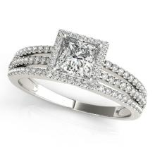 0.76 CTW Certified Cushion Diamond Bridal Solitaire Halo Ring 18K White Gold - 27183-REF#109G3M