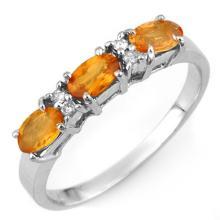 Natural 1.33 ctw Orange Sapphire & Diamond Ring 10K White Gold - 10976-#20P2X
