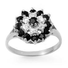 Genuine 1.02 ctw Blue Sapphire & Diamond Ring 18K White Gold - 12313-#32A7N