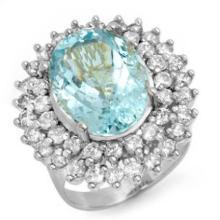 Genuine 10.50 ctw Aquamarine & Diamond Ring 18K White Gold - 14383-#242N8F