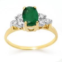Natural 1.18 ctw Emerald & Diamond Ring 14K Yellow Gold - 13966-#22F2M
