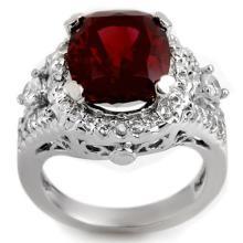 Natural 6.15 ctw Pink Tourmaline & Diamond Ring 14K White Gold - 11080-#144R7H