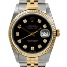 Pre-owned Excellent Condition Authentic Rolex Quickset Men's 18K/Stainless Steel DateJust Black Dial Watch - REF#-310V4Y