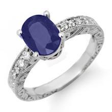 Natural 2.58 ctw Blue Sapphire & Diamond Ring 18K White Gold - 14356-#43K7T