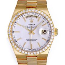 Pre-owned Excellent Condition Authentic Rolex Quickset Men's 18K Yellow Gold Day-Date White Dial Watch - REF#-1060H4M