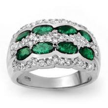 Natural 2.25 ctw Emerald & Diamond Ring 14K White Gold - 13982-#82A7N