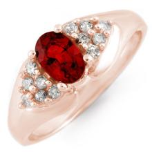 Natural 0.90 ctw Red Sapphire & Diamond Ring 14K Rose Gold - 10880-#35F3M
