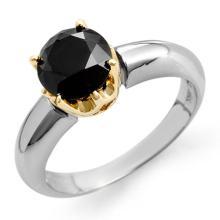 14K 2Tone Gold Jewelry 1.75 ctw Black Diamond Solitaire Ring - SKU#U43G9- 2044-14K