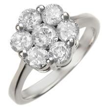 18K White Gold Jewelry 1.50 ctw Diamond Bridal Ring - SKU#U103Y9- 1040- 18K