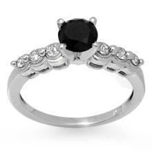 10K White Gold Jewelry 1.30 ctw White & Black Diamond Solitaire Ring - SKU#U32H1- 2073- 10K