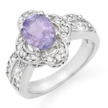 18K White Gold Jewelry 3.0ct Tanzanite & Diamond Ring - SKU#U70E9- 99705- 18K