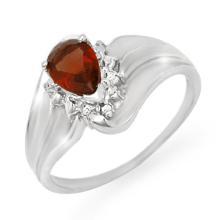 14K White Gold Jewelry 0.76 ctw Garnet & Diamond Ring - SKU#U14L5- 90055-14K