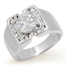 10K White Gold Jewelry 2.08 ctw Diamond Solitaire Men's Ring - SKU#U47J16- 99788- 10K