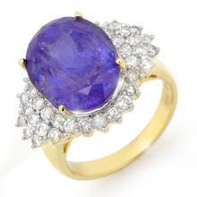 18K Yellow Gold Jewelry 11.25ct Tanzanite & Diamond Ring - SKU#U274U2- 99813- 18K