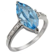 10K White Gold Jewelry 3.6 ctw Blue Topaz & Diamond Ring - SKU#U12N8- 1525- 10K