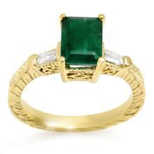 18K Yellow Gold Jewelry 2.45 ctw Emerald & Diamond Ring - SKU#U48T3- 1559- 18K